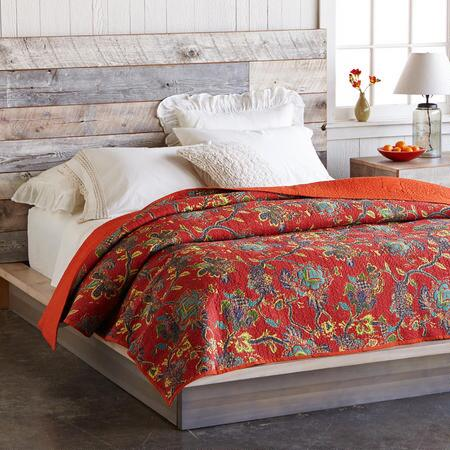 RED FLORAL KANTHA LIGHTWEIGHT QUILT