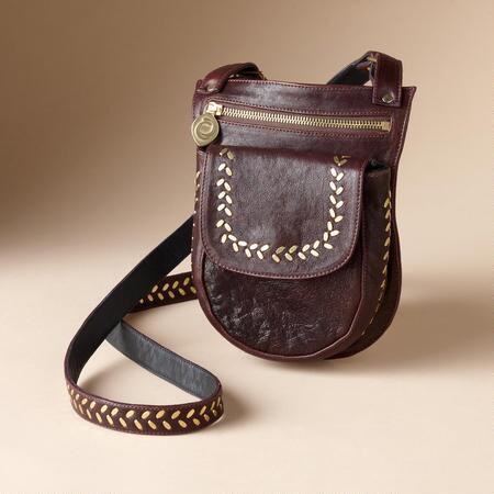 LEATHER AND BRASS SLING BAG