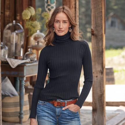 Only a petite rib knit turtleneck feels this cozy and looks this good at the same time.