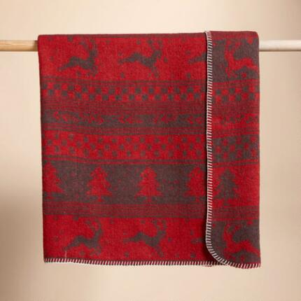 HAPPY HOLIDAY THROWS:RED/CREAM, RED/GRAY