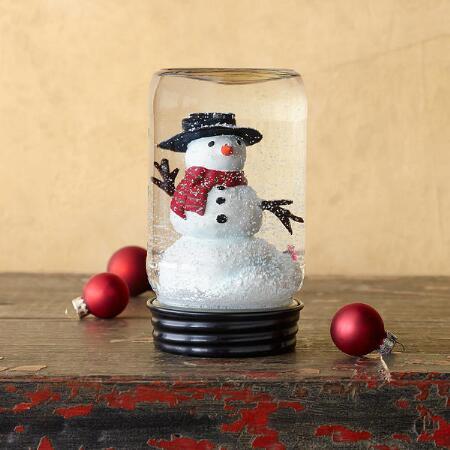 MASON JAR SNOWMAN SNOWGLOBE