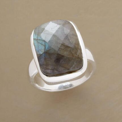 Add a bit of blue flare to your look with this floating labradorite world ring.