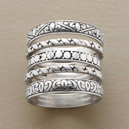 Classic yet ornate, this handmade sterling silver ring set is perfect for everyday wear.