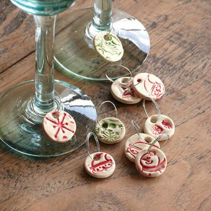 CERAMIC WINE CHARMS, SET OF 12