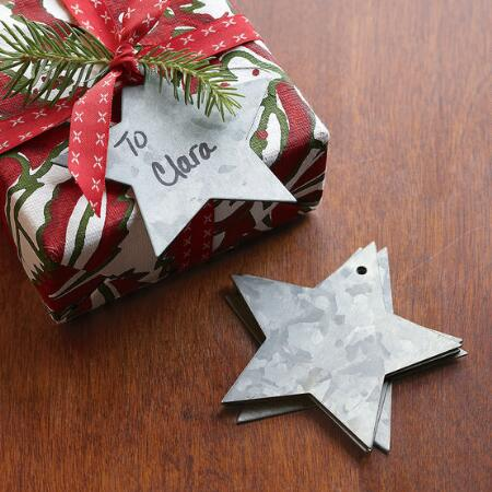 ZINC STAR GIFT TAGS, SET OF 6
