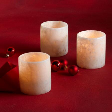 GLOWING ALABASTER CANDLEHOLDER