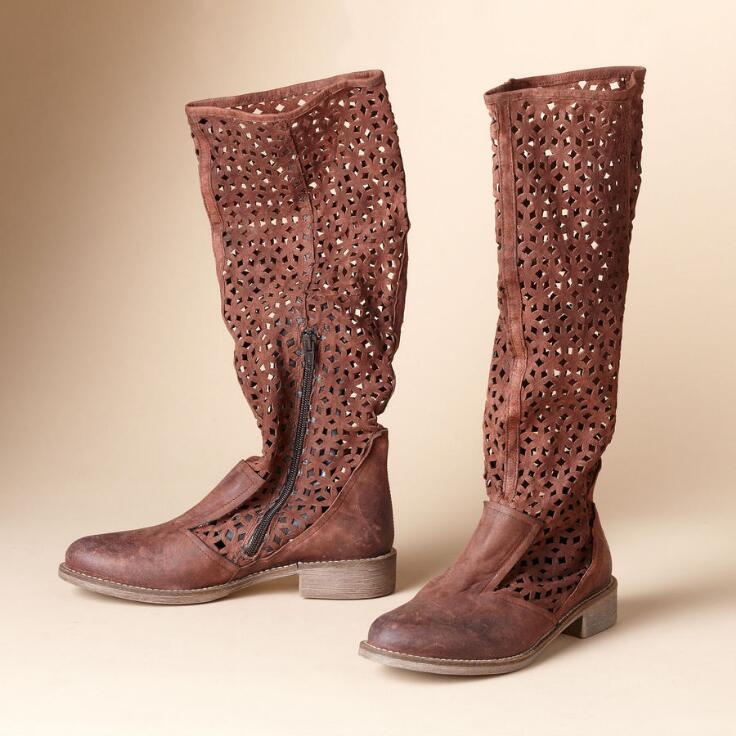 Laser Cut Tall Boots Boots Footwear