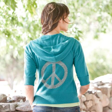 CROP SLEEVE WHOLE LOTTA PEACE CARDIGAN