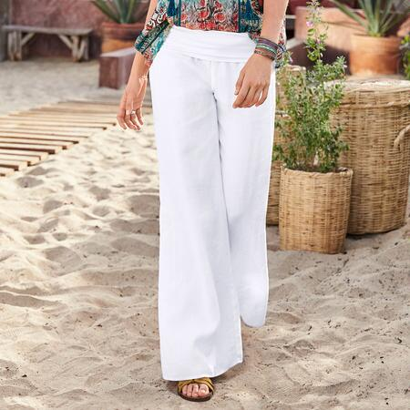 Get out and about or lounge at your leisure in our linen palazzo pants.