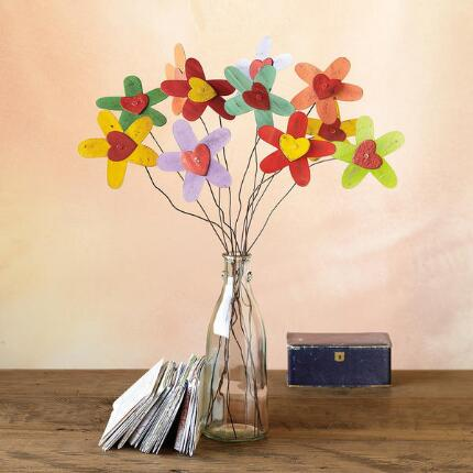 A beautiful bouquet of handmade metal flowers that will inspire good cheer throughout the year.