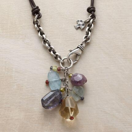 This gemstone tassel leather necklace packs a coolly colorful sparkle.