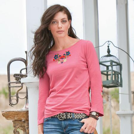 FLOWER FIELDS EMBROIDERED TOP