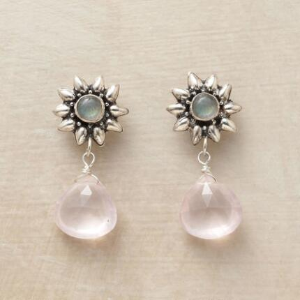These unique rose quartz earrings glow delicately in the cool light of two labradorite suns.