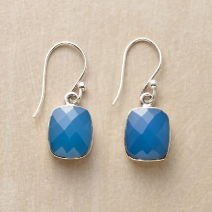 To behold these cushion-cut blue chalcedony earrings is to stand at the door of paradise.