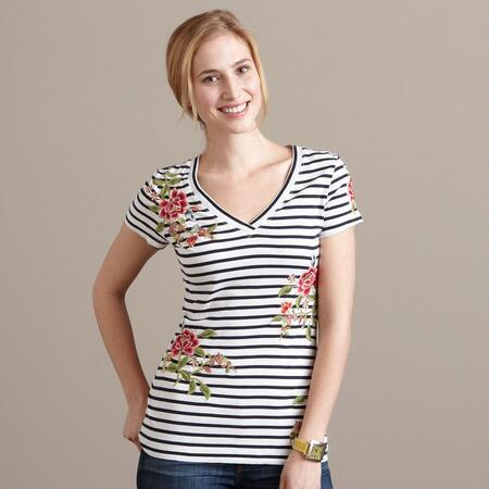 ALEXA STRIPED FLORAL TEE