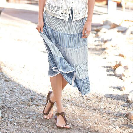 TIERED TICKING STRIPE SKIRT