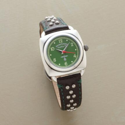 A studded leather quartz watch with verdant accents that set it apart.