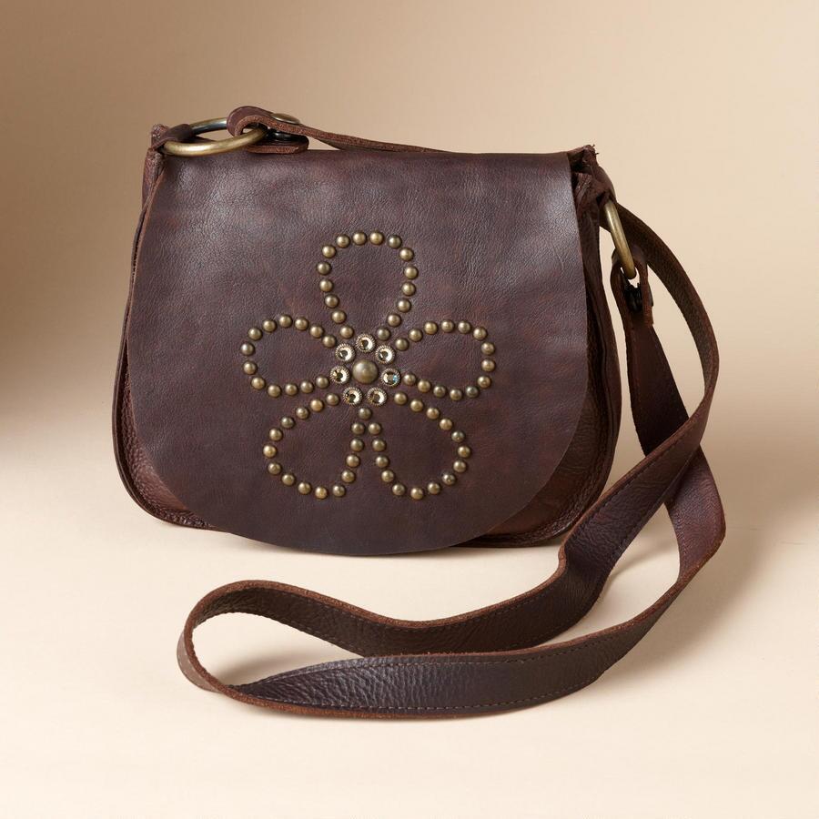 FLOWER-STUDDED CROSSBODY BAG
