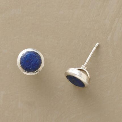 A pair of blue lapis stud earrings, for when just a drop of color is enough.