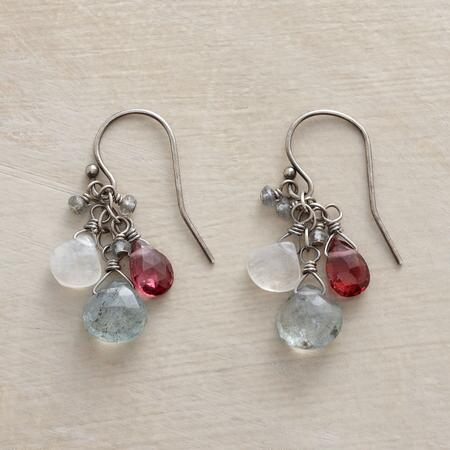 This pair of handmade beaded gemstone earrings convenes cool and warm colors to create lovely contrast.