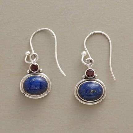 With simple charm, these handmade lapis and garnet earrings are a timeless pair.