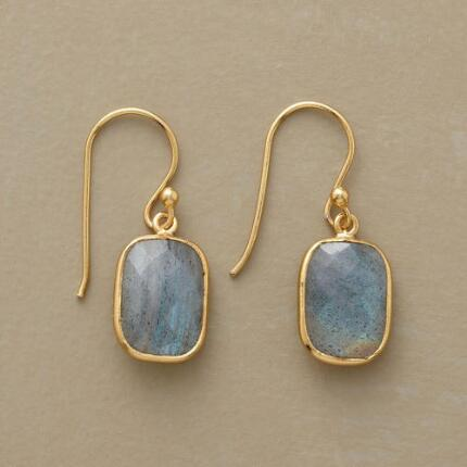 These faceted labradorite gold earrings run hot and cold, radiating icy color from within a warm frame.