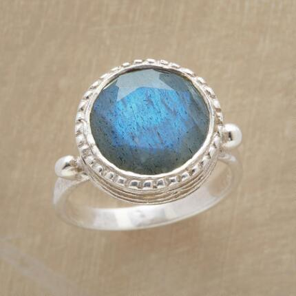 Like a glimpse of heaven, this blue labradorite paradise ring will shine in any ensemble.