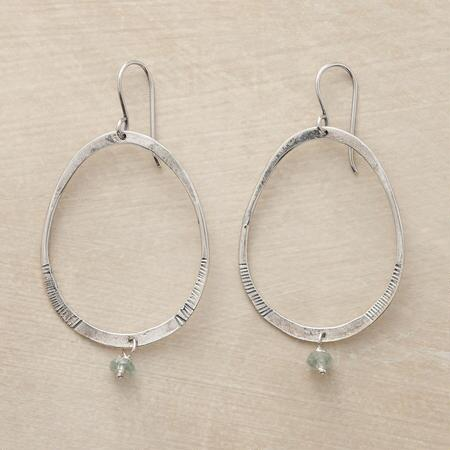 A pair of aquamarine drop hoop earrings that enhances its classic profile with a dangling gemstone bead.