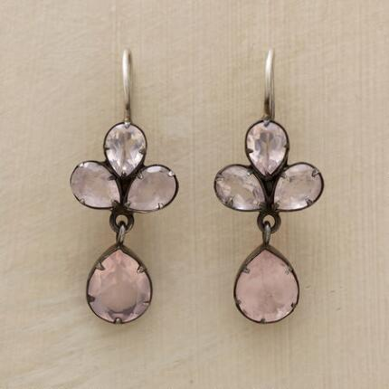 Romantic, yet unique, these Jane Diaz rose quartz earrings offer an uncommon measure of elegance.
