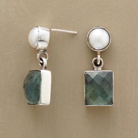 Quietly elegant, these rectangular apatite and pearl earrings will complement any ensemble.