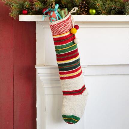 STRIPED BALL TASSEL STOCKING
