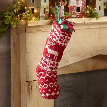RED & WHITE REINDEER STOCKING