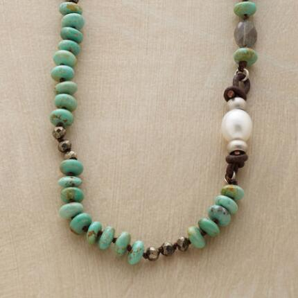TURQUOISE & PEARL ASYMMETRY NECKLACE