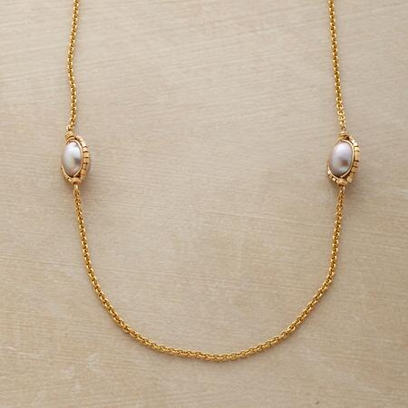 CAGED PLATINUM PEARL NECKLACE