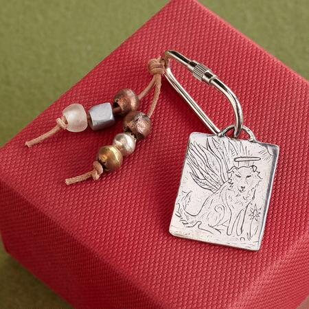 ANGEL DOG KEYRING