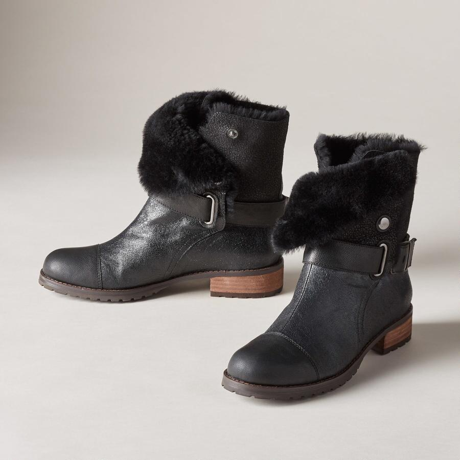 SHEARLING LINED SHORT BOOTS