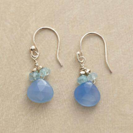 A pair of blue on blue chalcedony earrings, with charmingly delicate hues.