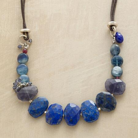 A vividly beautiful blue gemstone necklace that will shower your look in vibrancy.