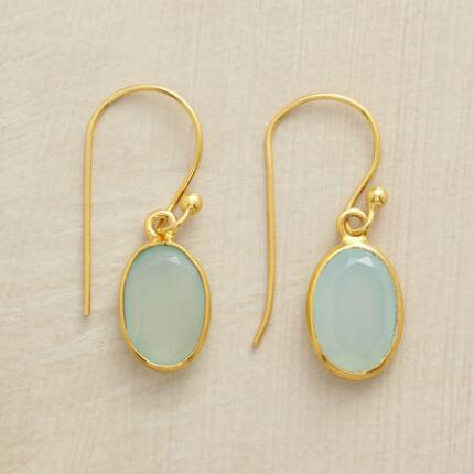 RIMMED CHALCEDONY EARRINGS