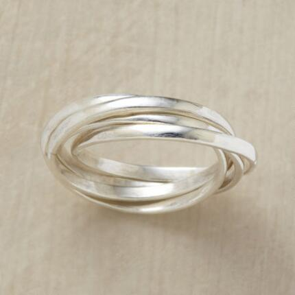This interlocked stack ring will remind you of the connections that matter most.