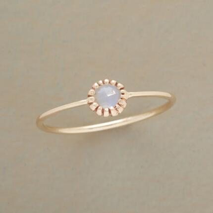 With the daintiest possible profile, this artisan moonstone ring couldn't be lovelier.