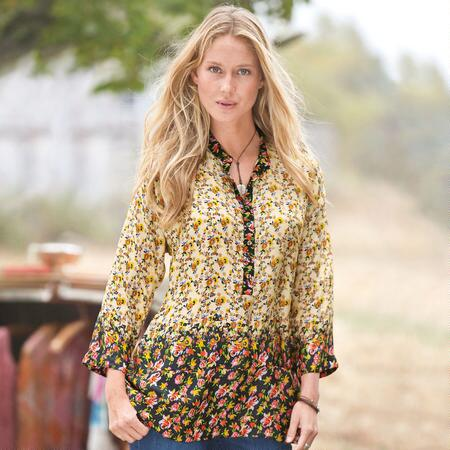 TEXAS ROSE SILK TUNIC