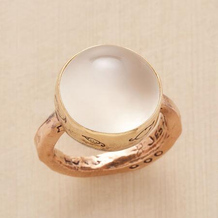 The peaceful glow of this Jes MaHarry moonstone ring soothes and delights.
