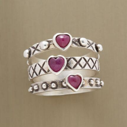 RUBY HEARTS RING TRIO