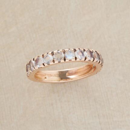 Bright as moonlight, this 14kt rose gold moonstone ring will set your ensemble aglow.