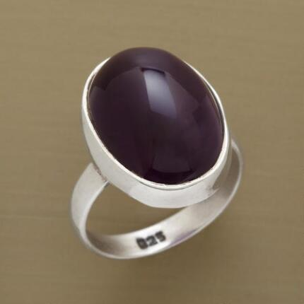 This purple amethyst cabochon merlin ring casts a spell on all who behold it.