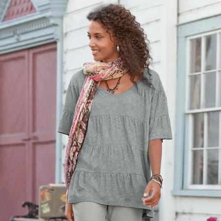 BASICALLY PERFECT TIERED JERSEY TUNIC
