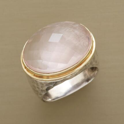 Coolly impressive, this rose quartz dome ring makes a stunning impression.