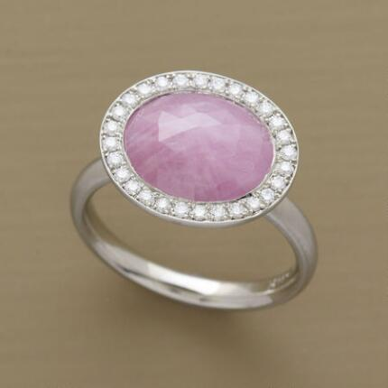 This Anne Sportun pink sapphire ring will stun you with its generous glitter.