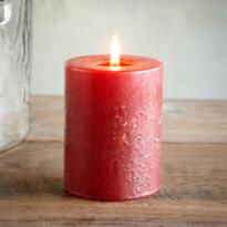 3X3 RED ANTIGUA PILLAR CANDLE
